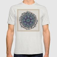 Morning Mist Mandala Mens Fitted Tee Silver SMALL