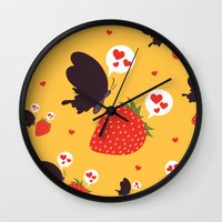the death loves the strawberry Wall Clock