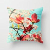 Spring Dogwood Blossoms Throw Pillow