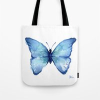 Blue Butterfly Watercolor Tote Bag