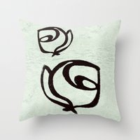 Flowers, Mother-Daughter, Mint Green Throw Pillow