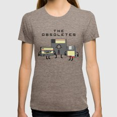 The Obsoletes (Retro Floppy Disk Cassette Tape)  Womens Fitted Tee Tri-Coffee SMALL