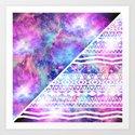 Girly Purple Pink Nebula Space White Tribal Aztec Art Print