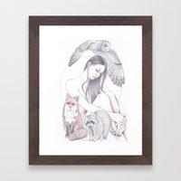 Full Moon Heart Framed Art Print