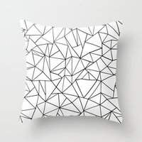 Abstract Outline Black on White Throw Pillow