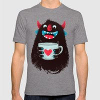 Demon with a cup of coffee (contrast) Mens Fitted Tee Tri-Grey SMALL