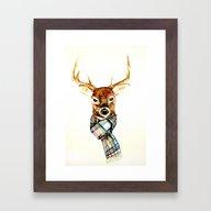 Deer Buck With Winter Sc… Framed Art Print