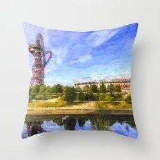 West Ham Olympic Stadium And The Arcelormittal Orbit Art Throw Pillow