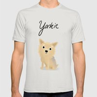 Yorkie - Cute Dog Series Mens Fitted Tee Silver SMALL