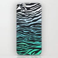 TEAL ZEBRA FADE iPhone & iPod Skin