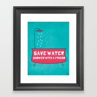 Save Water Shower With A… Framed Art Print