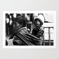 Mother and child in Peru Art Print