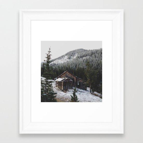 Snowy Cabin Framed Art Print