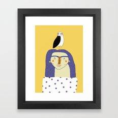 Women and Owl, owl art, people, illustration, fashion, style,  Framed Art Print