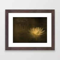 A mystic lotus flower illuminated by the moon in a Chinese garden.. Framed Art Print