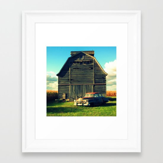 1950 Cadillac & Barn Framed Art Print