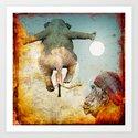 Sir's departure elephant towards the moon Art Print