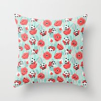 Poppy Pandas Throw Pillow