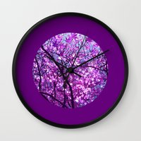 purple tree XXXIII Wall Clock