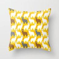 Throw Pillow featuring The Alpacas by Littleoddforest
