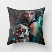 Skull Mage Dark Fantasy … Throw Pillow