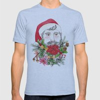 Santa Stuffed Beard Mens Fitted Tee Athletic Blue SMALL