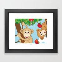Cute Monkeys Part A Framed Art Print