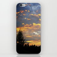 iPhone & iPod Skin featuring Fiery Sunset by lokiandmephotography