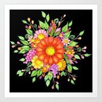Big Red Daisy Bouquet on Black Art Print