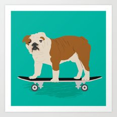 English bulldog skateboard funny pet portrait cute gift for dog person dog lover bulldog owner gifts Art Print