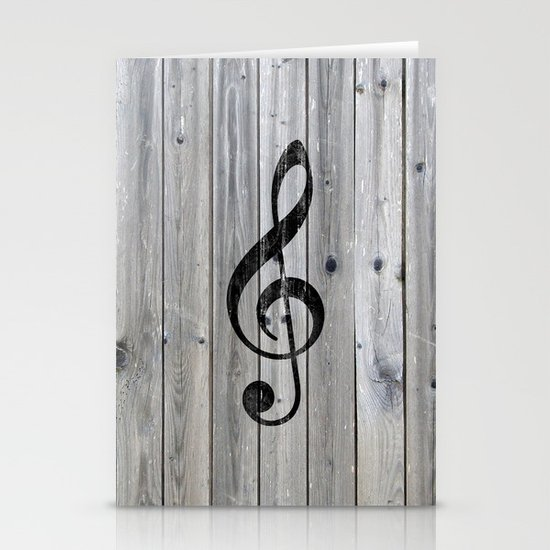 Vintage black music note Treble Clef gray wood Stationery Card