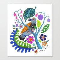 Bird Botanical Canvas Print