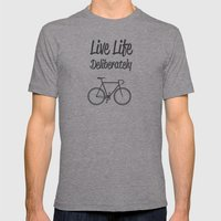 Live Life Deliberately Mens Fitted Tee Athletic Grey SMALL