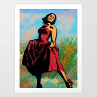 Happiness in a Red Dress Art Print