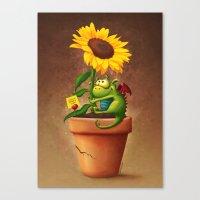 Sunflower&Dragon Canvas Print