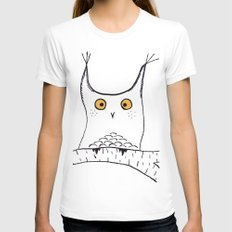 Squarish Owl Womens Fitted Tee White SMALL