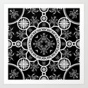 Scarab tile line pattern with black Background Art Print