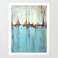 Abstract White And Blue … Art Print