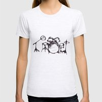 Drums Womens Fitted Tee Ash Grey SMALL