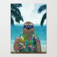 Sloth on summer holidays drinking a mojito Canvas Print