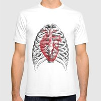Heart Bones Mens Fitted Tee White SMALL