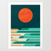 Chasing Wave Under The R… Art Print