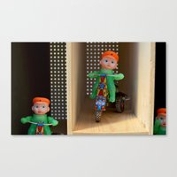 Guys riding tricycles Canvas Print