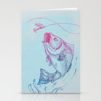 Bass Jumping In Blue Cir… Stationery Cards