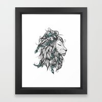 Poetic Lion Turquoise Framed Art Print