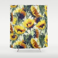 Shower Curtain featuring Sunflowers Forever by Micklyn