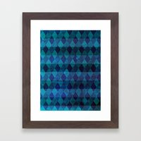 diamond stripes (blue) Framed Art Print