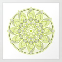 Green Circle Pattern Art Print