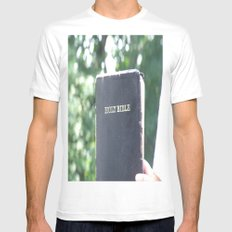 Holy Bible w/ bokeh Mens Fitted Tee SMALL White