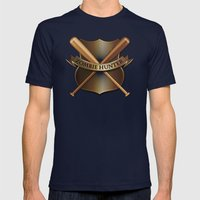 Zombie hunter shield Mens Fitted Tee Navy SMALL